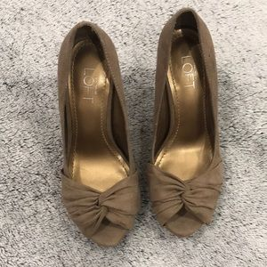 Ann Taylor LOFT Bow Peep Toe Heels